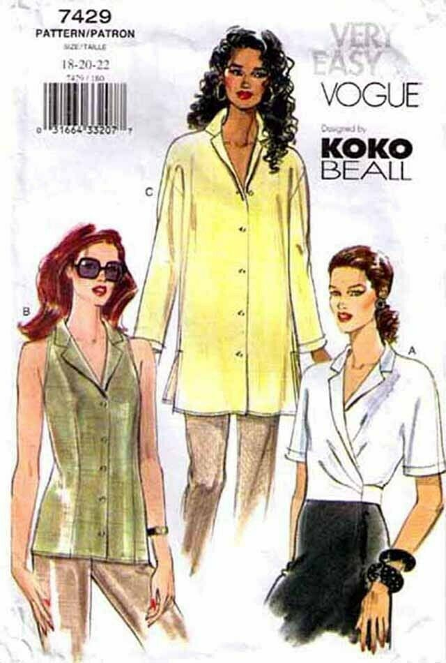 Primary image for 2001 Misses' BLOUSE/TOP Vogue Pattern 7429-v Sizes 18-22 Koko Beall