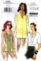 2001 Misses' BLOUSE/TOP Vogue Pattern 7429-v Sizes 18-22 Koko Beall - $12.00
