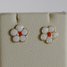 18K YELLOW GOLD CHILD FLOWER DAISY MINI EARRINGS GLAZED, FLAT, MADE IN ITALY image 1
