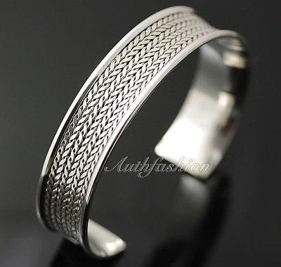 Mens Sterling Silver Bracelet Woven Wheat Bangle Cuff Handcrafted Hip Hop b24