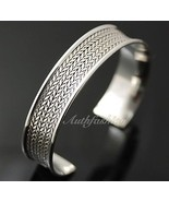 Mens Sterling Silver Bracelet Woven Wheat Bangle Cuff Handcrafted Hip Ho... - $201.37