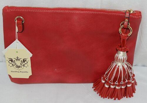 Handbag Republic Brand HG0024 Red Vegan Womens Purse With Large Tassel Detail