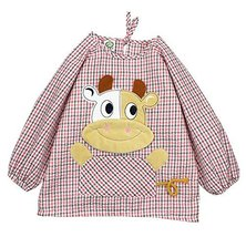 Cute Cartoon Cow Waterproof Sleeved Bib Baby Smock Baby Bibs PINK, 2-3 Years