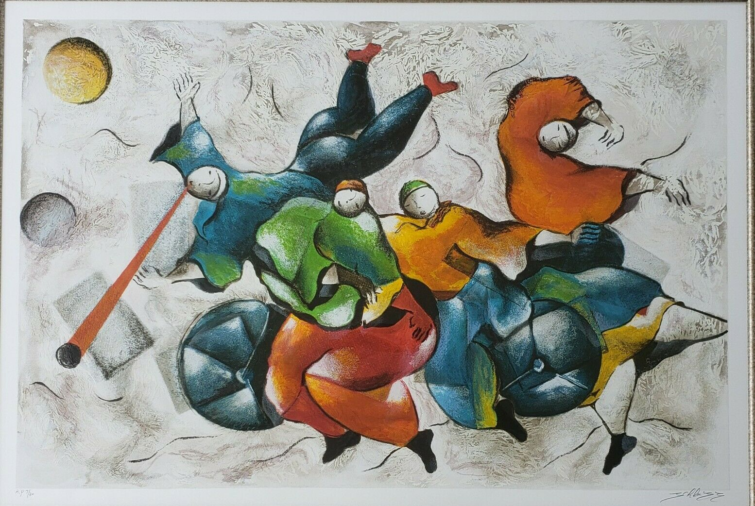 Primary image for Signed DAVID SCHLUSS - DANCING WITH MUSIC - Artist Proof Serigraph Art Print -