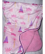 SL Home Fashions Princess Baby Blanket Pink Purple RN 119741 Crowns Wands - $26.24