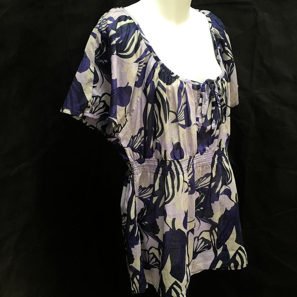 H&M Sz 16 Top Blue Purple Tropical Floral Semi-Sheer Flutter Cap Sleeve