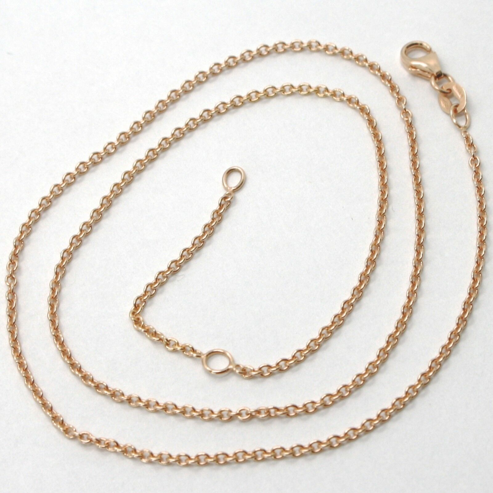 18K ROSE GOLD CHAIN 1.2 MM ROLO ROUND CIRCLE LINK, 23.6 INCHES, MADE IN ITALY