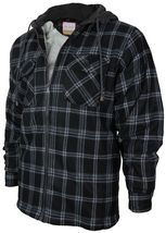Men's Heavyweight Flannel Zip Up Fleece Lined Plaid Sherpa Hoodie Jacket image 11