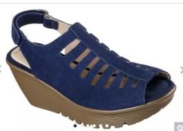 Navy Skechers Cali Parallel Trapezoid Platform Wedge Sandal. - $48.50