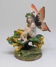 5.5 Inch Honeysuckle Fairy Sitting on Flowers Statue Figurine - $24.50