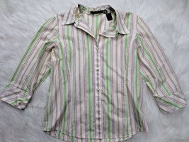 Liz Claiborne Shirt Womens 10 White Green Pink Stripe Button Down 3/4 Sl... - $20.79