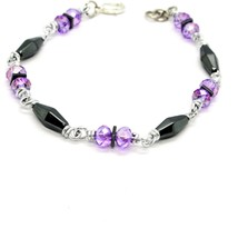 Bracelet the Aluminium Long 19 Inch with Hematite and Crystal Purple image 2