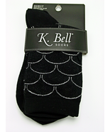 Metallic Scallop K Bell Women's Crew Socks Black/Silver New Novelty Fashion - €6,86 EUR