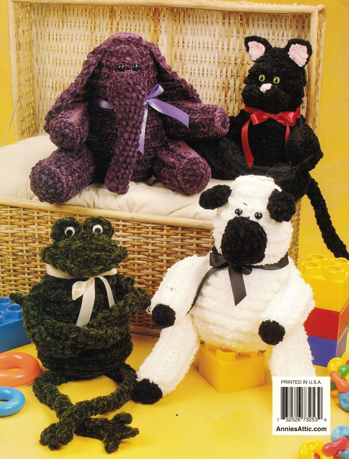 Primary image for 6 Chenille Stuffed Bear Elephant Frog Kitty Lamb Bunny Crochenit Crochet Pattern