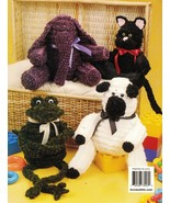6 Chenille Stuffed Bear Elephant Frog Kitty Lamb Bunny Crochenit Crochet... - $11.99