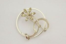 Vintage signed Krementz circle pin/brooch rhinestone flower leaf delicat... - $23.75