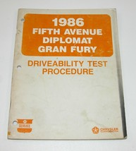1986 Chrysler Fifth Avenue Dodge Diplomat OEM Driveability Test Procedure Manual - $7.87