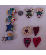 10 Angels, Hearts, and Star Button Covers - Lot 2 - $10.00