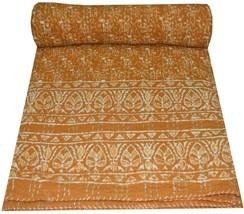 Indian Vintage Block Queen Kantha Quilt Throw Reversible Cotton Bedsprea... - £47.84 GBP