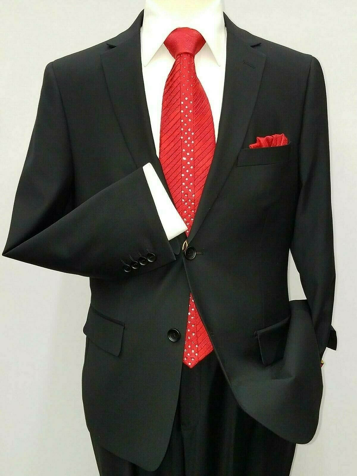 Primary image for Mens suit Mantoni 100% Wool Two Button Side Vents formal or Business 40901 black