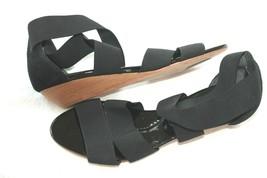 Bcbg Max Azria Black Comfy Elastic Strap Low Wedge Heel Size 6.5 M - $19.80