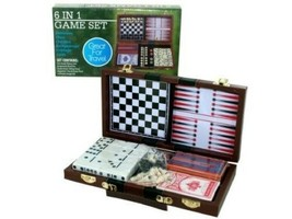 6-in-1 Traveling Games Chess Checkers Backgammon Dominoes Cribbage Deck ... - $26.13