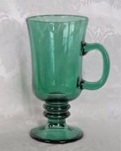 Green Glass Irish Coffee Mug Gold Trim Drinking Barware Kitchen Libbey H... - $7.91
