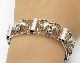 KA NORWAY 925 Silver - Vintage Modernist Floral Swirl Chain Bracelet - B... - $130.25