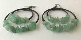 Vintage Genuine Green Jade Jadeite Gemstone Chip Bead Cord Wrapped Wire ... - $19.59