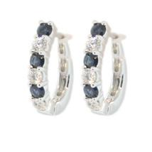 ESTATE 14KW GOLD DIAMOND 0.50CT & BLUE SAPPHIRE 0.50CT HUGGIE HOOP EARRINGS - $1,015.59