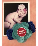 Monthly Milestone 12 Month Blue Headband Set w/ Flower for Newborn Baby ... - $2.00