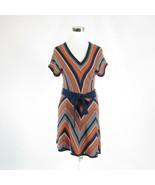 Dark blue orange diagonal striped JESSICA SIMPSON short sleeve sweater d... - $29.99