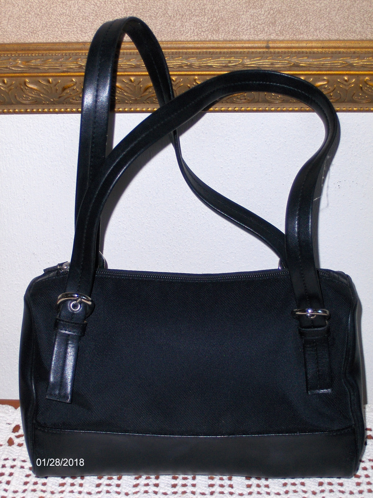 City Dkny Satchel Black Leather Handbag Purse Tote Bag 13 62 Gbp