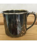 Old Oneida Silverplate Baby Cup Mug Logo Engraved Tarnished Vintage America - $19.43