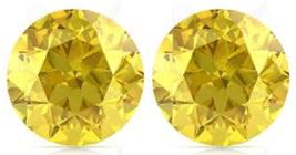 2 SAPPHIRES CANARY YELLOW 10 mm. ROUND LOOSE PAIR HARDNESS 9 DIAMOND-SPA... - $28.88