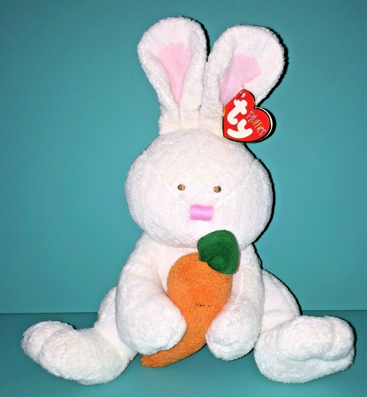 Primary image for Ty Pluffies Snackers Bunny Rabbit White Plush Carrot Stuffed Animal Lovey 2005