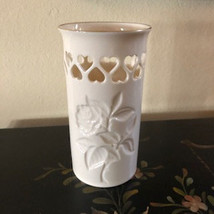 Lenox Vase with Rose Design and Cut Out Hearts Reticulated - $28.00