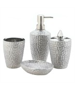 4-Pc Porcelain Hammered Silver Bath Accessory Set - $13.60