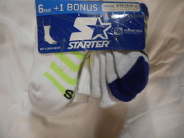 Boys Starter Crew Socks 6 Pair Size Small 6- 9 1/2 White Stripes Cushion... - $9.89
