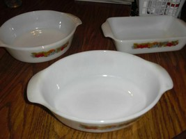 3 X Vintage Fire King Casserole Dishes. Fruit Pattern. Round, Oval, Rectangle... - $74.25