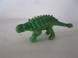 "(BX-1) Vintage 2.5"" long rubber Dinosaur - light green w/ green back - $2.00"