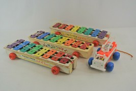 Fisher-Price Vintage Pull-A-Tune Xylophone Lot of 3 + Fire Truck 1964 1968 USA - $29.02