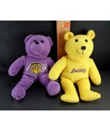 2 Lakers Plush Purple Gold Bears Los Angeles NBA LA Stuffed Basketball 8... - $10.68