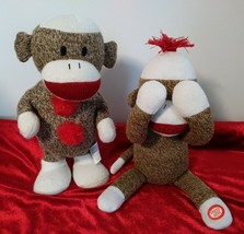Lot of 2 Sock Monkey's Plush Interactive Stuffed Animal 1 Dancing 1 Peek... - $12.95