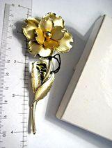 Large Vintage CORO Brooch Gold tone Flower in Original John Wanamaker Box Tags image 6