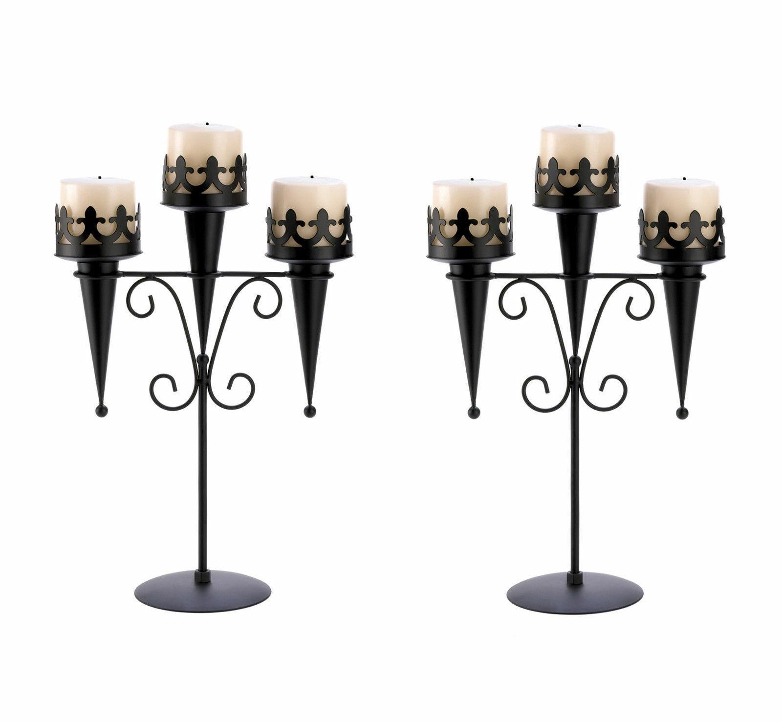 2 Medieval Gothic Triple Pillar Candle Holder Stand Set Pair Black Iron SL 14114