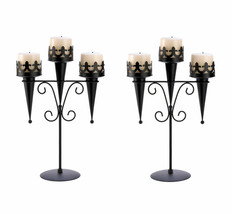 2 Medieval Gothic Triple Pillar Candle Holder Stand Set Pair Black Iron ... - $30.59