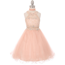 Blush Dazzling Halter-Neck Hand Beaded Rhinestones Bodice Wired Tulle Skirt - $58.00+