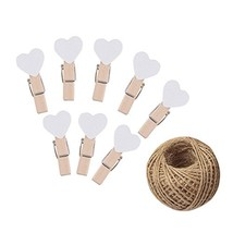 KINGLAKE 100 Pcs White Mini Wooden Heart Clothespins 3.5 cm with Spring ... - $13.07