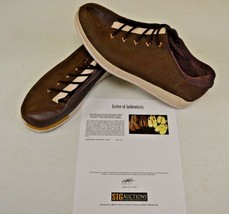 Converse Sample 3hree Brown Leather 14 DWAYNE WADE Personal Owned Shoes COA #10 - $346.49